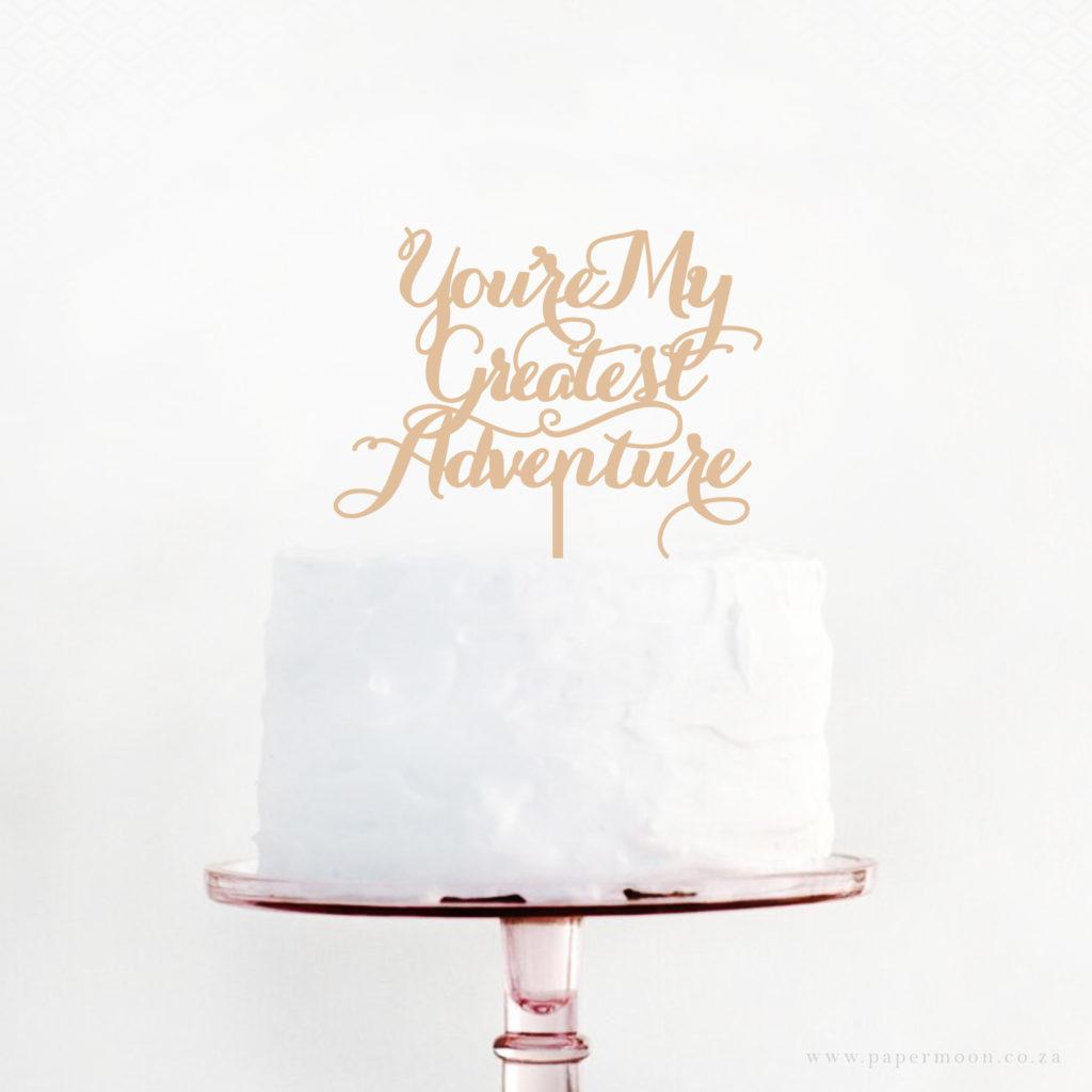 Paper Moon Wedding Cake Topper