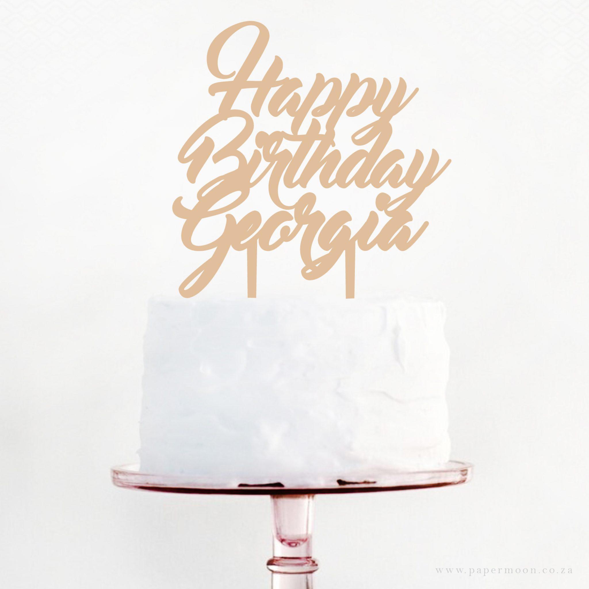 Happy Birthday Script Cake Topper