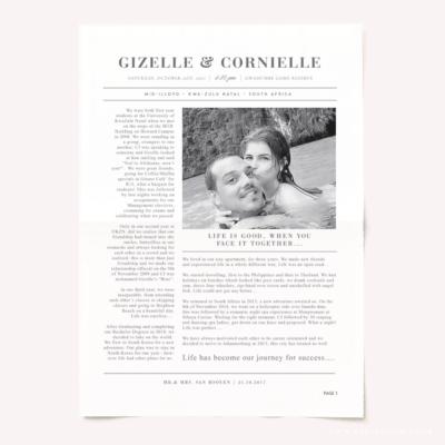 Minimal Modern Wedding Newspaper
