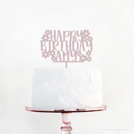 Cute Flower Birthday Custom Cake Topper