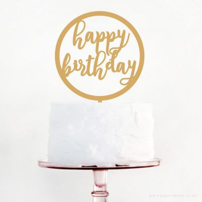 Happy Birthday Round Frame Cake Topper