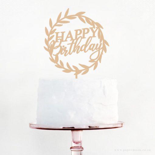 Happy Birthday Wreath Cake Topper