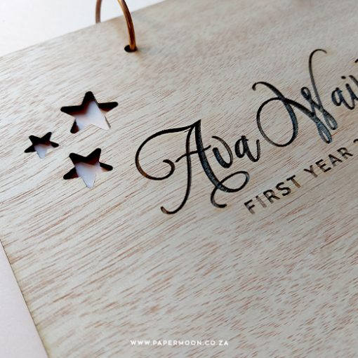 Starry Wooden Baby Book