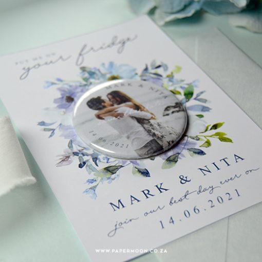 Blue Floral Save the Date Fridge Magnet
