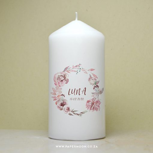 Pink Wreath Candle