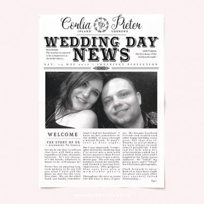 Rustic Wedding Newspaper